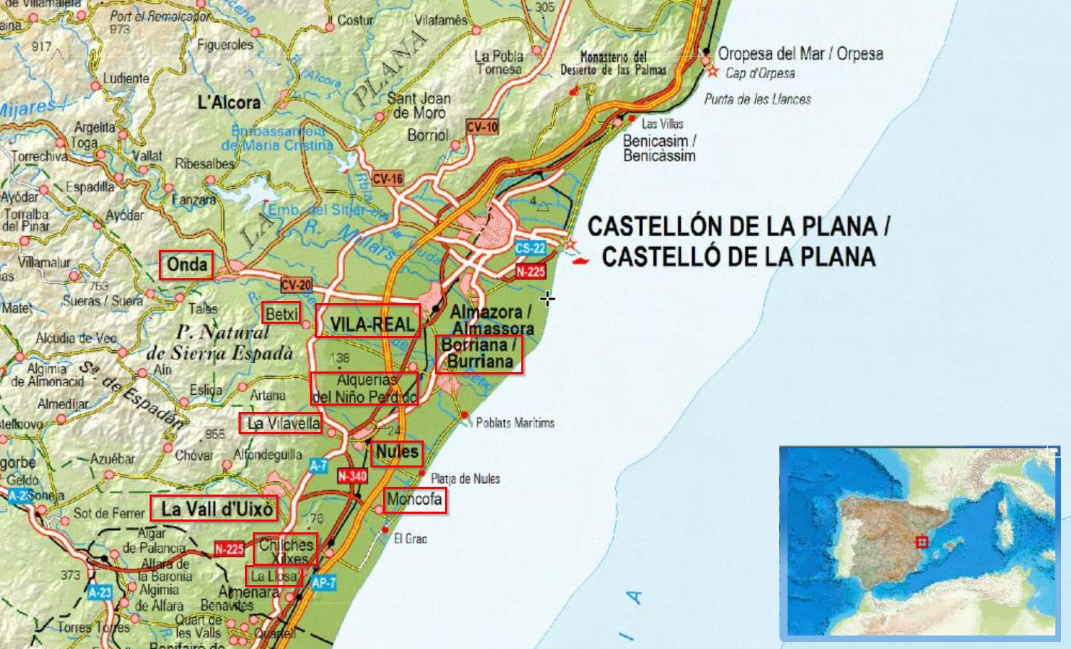 Mapa Provincia Castellon Municipios.Ubicacionmunicipiosconsorcioaguaslaplana Acuademia Com